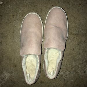 Pink fuzzy slip ons